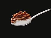 Ein Löffel Joghurt mit Schokoraspel