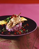 Pheasant breast on beetroot and celery tartare