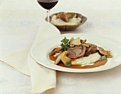 Braised veal rolls with ceps and mashed potato