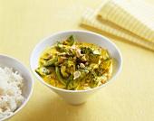 Green vegetables in coconut milk