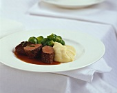 Venison in rose hip sauce with Brussels sprouts & mashed potato