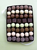 Assorted chocolates in a box (overhead view)