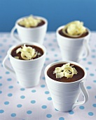 Chocolate mocha mousse with white chocolate shavings
