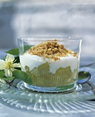 Apple compote with vanilla yoghurt and toasted rolled oats