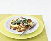 Ribbon pasta with chanterelles and spinach