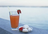 Strawberry drink at lakeside