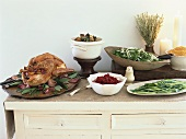 Turkey with accompaniments for Thanksgiving (USA)