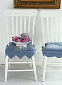 Hydrangeas in a bowl on a chair