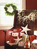 Christmas gifts on a wooden bench
