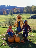 Pumpkin people on a pumpkin farm