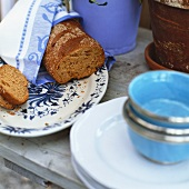 Wholemeal bread wrapped in tea towel