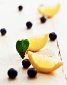Blueberries and lemon wedges
