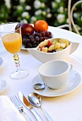 Breakfast: fruit salad, orange juice and fresh fruit