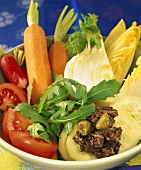 Raw vegetables with anchovy dip