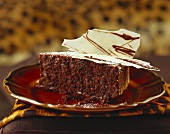 A piece of chocolate coffee cake