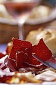 Westphalian ham on fork