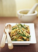 Fettuccini with kipfler potatoes and green beans