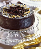 Festive chocolate cake on cake stand