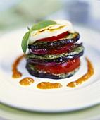 Aubergine and tomato tower with mozzarella