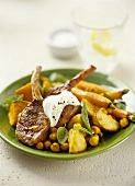 Lamb cutlets with lukewarm chick-pea salad