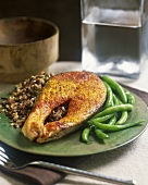 Fish cutlet with brown rice and green beans