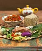 Nam prik ong (Thai mince dish) with ingredients