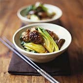 Sweet & sour meatballs with Asian vegetables & shiitake