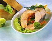 Steamed salmon cutlet with vegetables