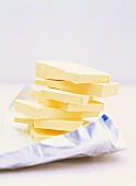 Slices of butter in a pile