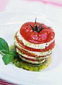Tomato and mozzarella tower