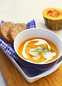 Pumpkin soup with cod and cream