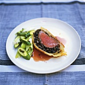 Venison fillet with mushroom stuffing in puff pastry