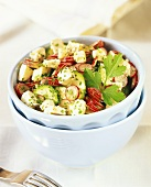 Courgette and radish salad with sheep's cheese