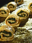 Pancake and spinach rolls