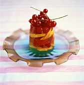 Berries and nectarines in jelly