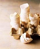 Eggshells in egg box