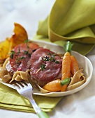 Veal escalope with ham and thyme