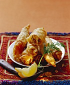 Savoury filled filo pastry rolls