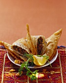 Filo pastry parcels with mince filling