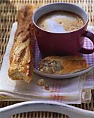 Café au lait with baguette