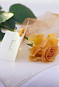 Place-card with a rose