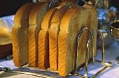 Slices of toast in toast rack