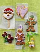 Various figures in biscuit dough