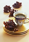 Cornflake clusters with chocolate glaze & a cup of coffee