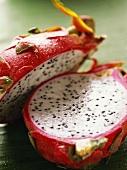 Red pitahaya, halved