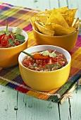 Mexikanische Tomatensalsa und Nachos