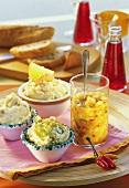 Onion butter, almond butter, shrimp butter & pineapple salsa