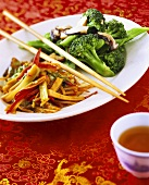 Wok-cooked vegetables and sweet and sour broccoli