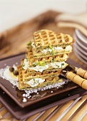 Spinach waffles with soft cheese