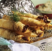 Sheep's cheese rolls (cigarette börek, Turkey)